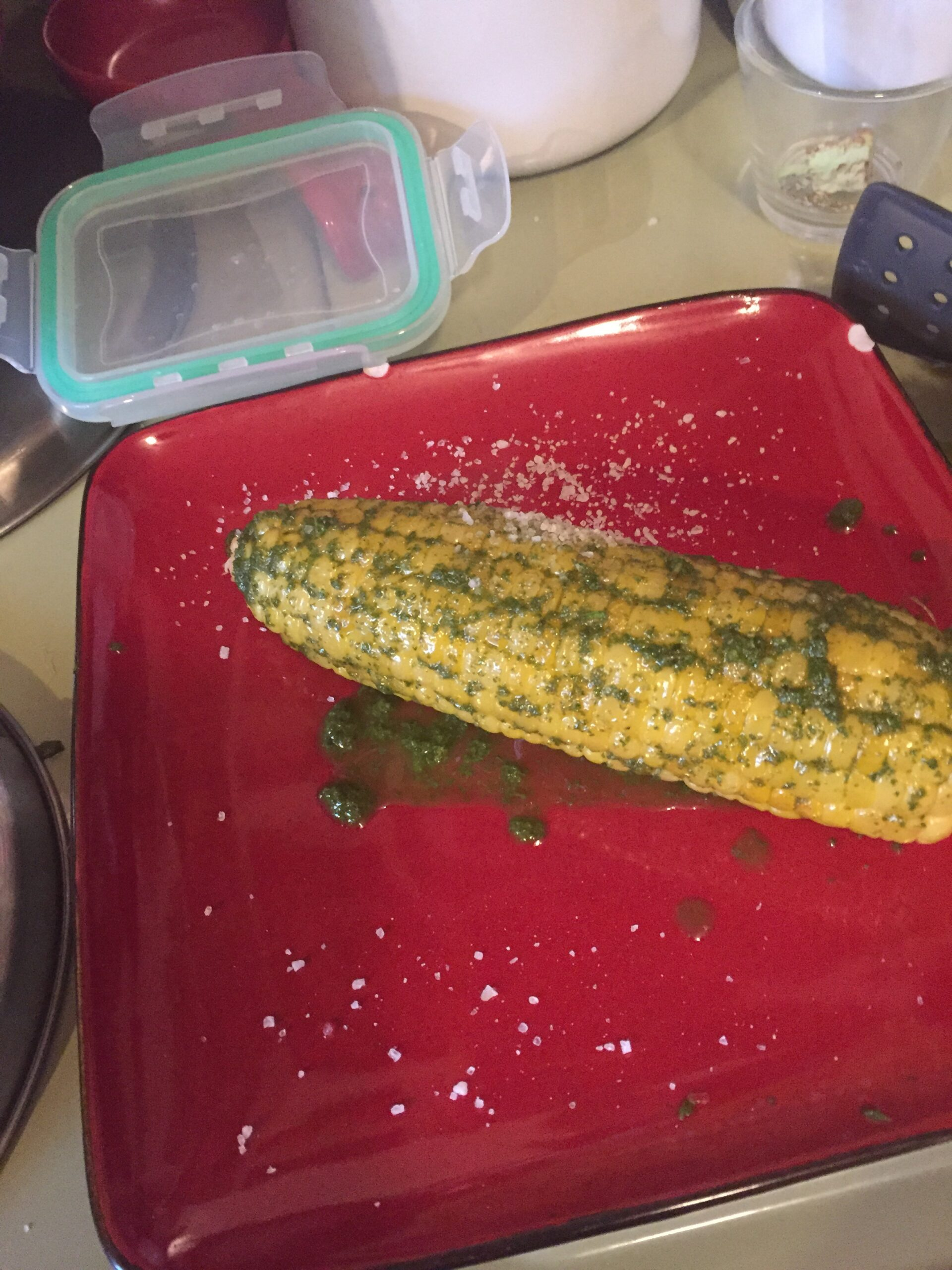 corn on the cob with basil mint pesto